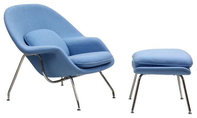 Liv Lounge Chair and Ottoman in Baby Blue Contemporary Armchairs & Ac