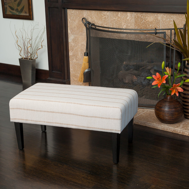 Contemporary Living Room Space W Fabric Bench Footstool Ottoman Contempora