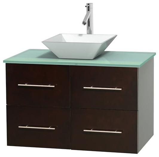 Centra 36 espresso sgl vanity green glass top white porcelain sink no mrr modern for Glass top bathroom vanity units