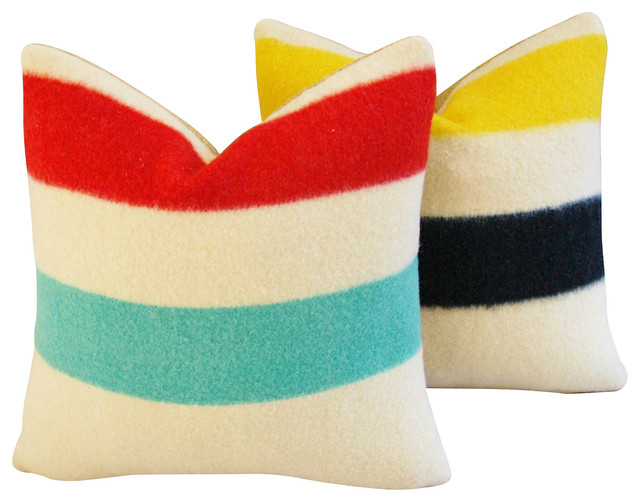 Decorative Pillows Hudson Bay : Hudson s Bay Blanket Pillows, Pair - Contemporary - Decorative Pillows
