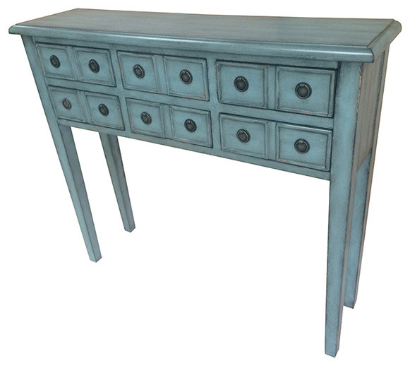 Teal Sofa Table: Florence 6 Drawer Teal Console