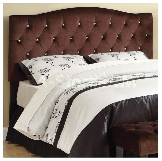 Ion Brown Suede Headboard With Diamonds