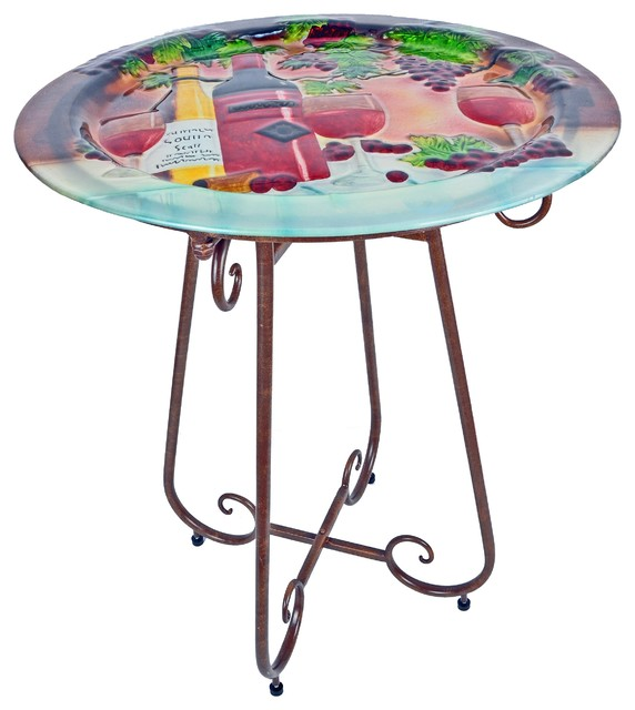 Hand-Painted Glass Bistro Table, Wine - Outdoor Pub And Bistro Tables - by Continental Art ...