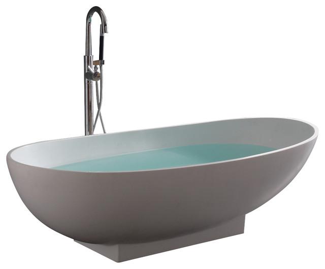 Stand alone resin bathtub matte modern bathtubs by adm bathroom design - Stand alone bathtubs ...