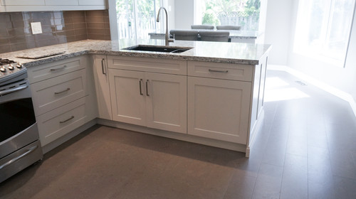 white cabinets and Cambria Bellingham, backsplash