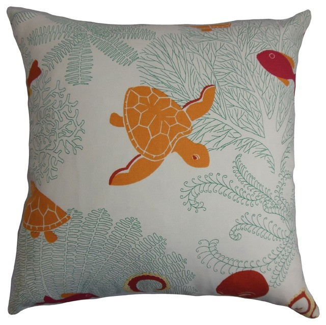 Ondine Coastal Pillow Coral White - Beach Style - Decorative Pillows - by The Pillow Collection Inc.