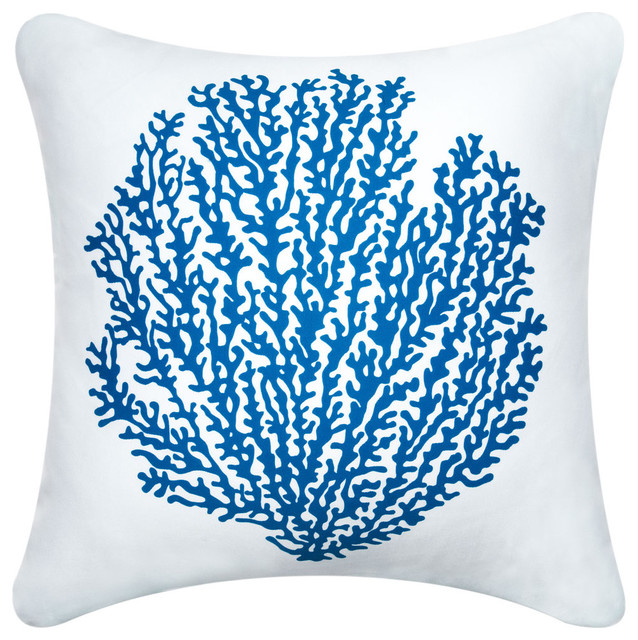 Coral Modern Eco Coastal Throw Pillows, Sapphire/Shell White - Modern - Scatter Cushions - san ...