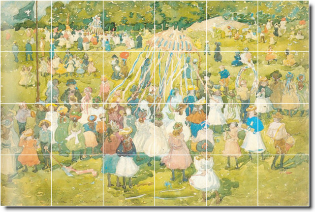 May day central park tile mural by maurice prendergast for Central park mural