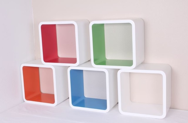 Wall cube set shelves red blue white orange green 12 quot x8 quot x12 quot modern