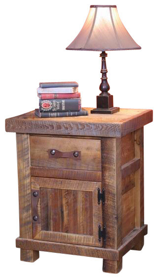 Rustic Wood Bedside Table: Black Mountain Reclaimed Wood 1-Drawer Night Stand With