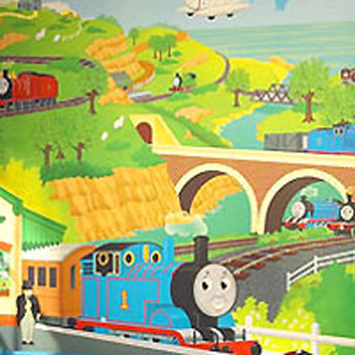 thomas tank train engine prepasted wallpaper mural. Black Bedroom Furniture Sets. Home Design Ideas