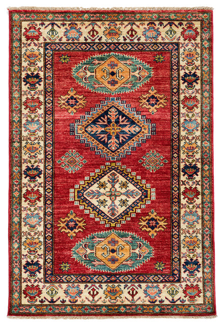 Kazak Wool Area Rug, Red, 3x5 traditional-area-rugs