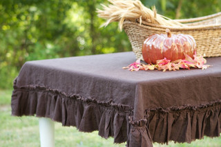 Chocolate Linen Raw Ruffle Tablecloth - Traditional - Tablecloths - by Etsy