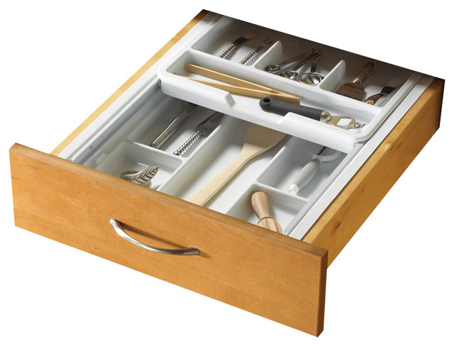 Two-Tiered Cutlery Organizers in White - Contemporary - Kitchen Drawer Organizers - by ShopLadder