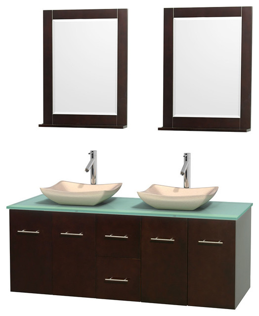60 Double Bathroom Vanity Green Glass Countertop Sinks Mirror Contem