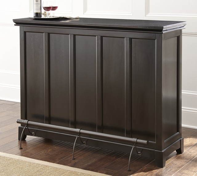 Garrison Black Home Bar with Foot Rail - Contemporary - Wine And Bar Cabinets - by Overstock.com