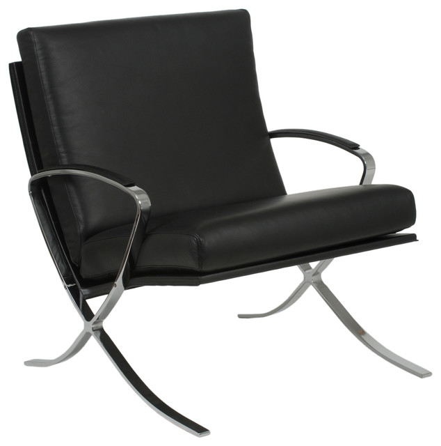 Pietro Lounge Chair Black Leather Chrome Modern Armchairs And Accent Ch