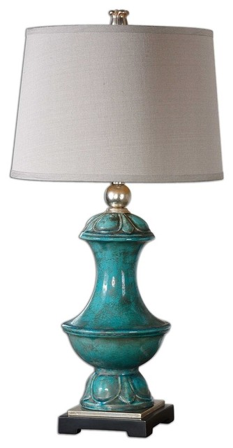lynden aged blue lamp traditional table lamps by lampuniverse. Black Bedroom Furniture Sets. Home Design Ideas