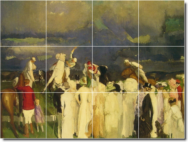 Polo crowd tile mural by george bellows traditional for Audience wall mural