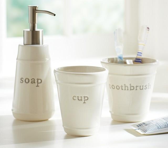 gray bath accessory set