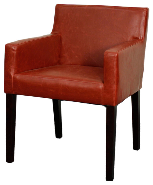 Griffin bonded leather arm chair with brown legs vintage for Modern brown leather dining chairs