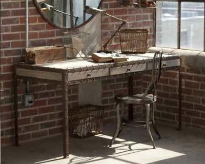 Wood Desk With Metal Rivet Edges And 3 Drawers Eclectic