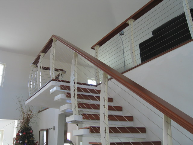 Indoor Handrails For Stairs Contemporary: White Interior Cable Railing On Cantilever Stairs