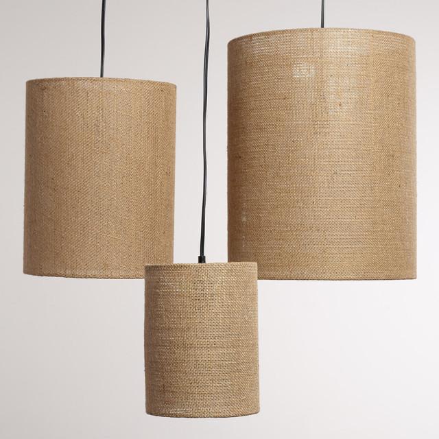 irving burlap lamp shades set of 3 contemporary. Black Bedroom Furniture Sets. Home Design Ideas