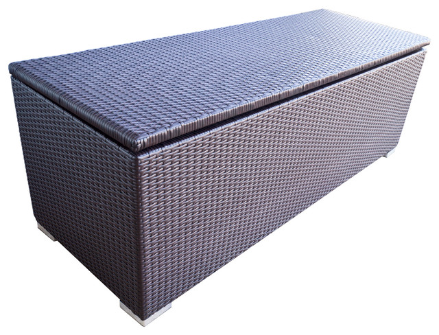 Wicker Patio Storage Deck Box Outdoor And Espresso Brown