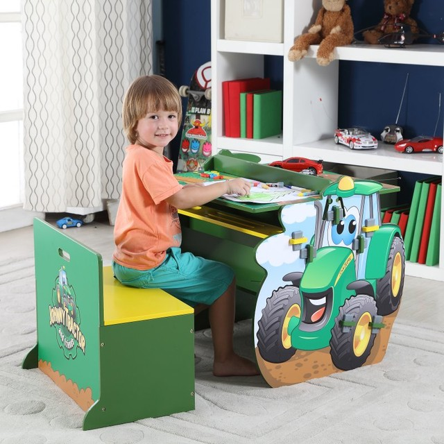 John deere johnny tractor activity table and chair set for Kitchen cabinets lowes with john deere wall art