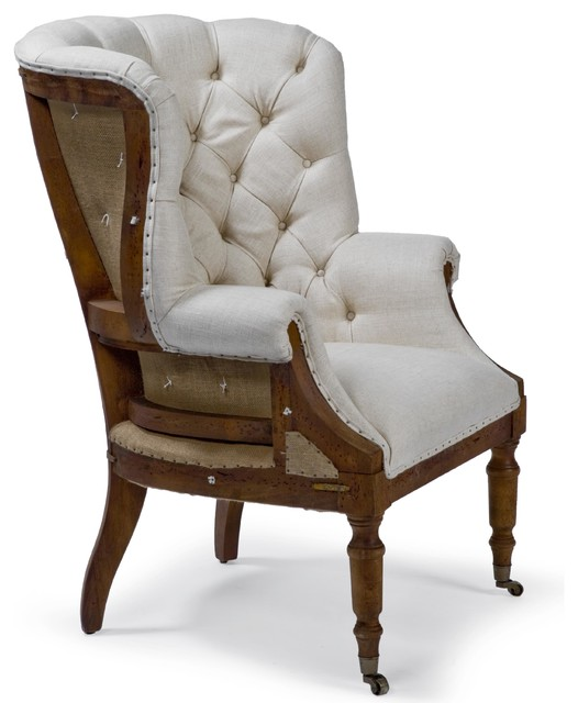 Liesl French Country Deconstructed White Linen Wing