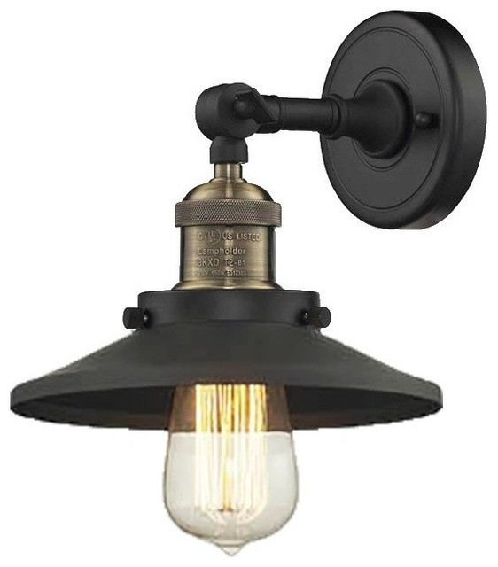 Black Industrial Wall Sconces : Railroad Shade Wall Sconce, Black/Brushed Brass - Industrial - Wall Sconces - by Innovations ...