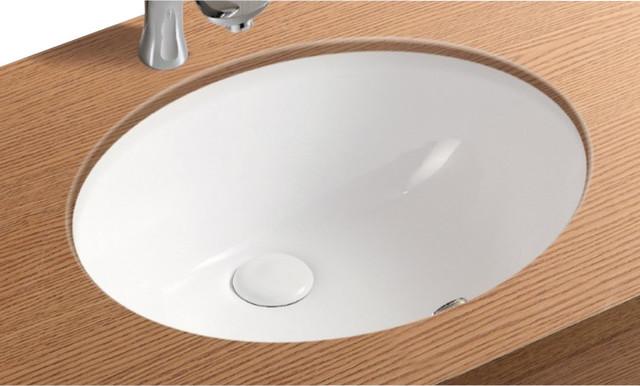Oval White Ceramic Undermount Bathroom Sink No Hole Contemporary Bathroom Sinks By
