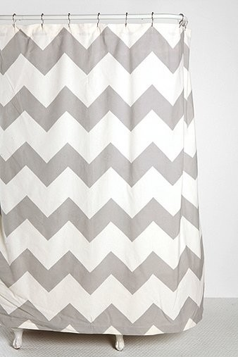 zigzag shower curtain gray contemporary shower curtains by urban outfitters. Black Bedroom Furniture Sets. Home Design Ideas