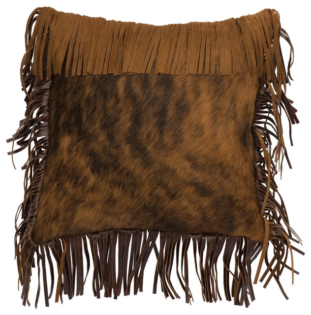 Decorative Pillows With Fringe : Fringe Stallion Leather Hair on Hide Pillow, 16x16 with Fabric Back - Rustic - Decorative ...