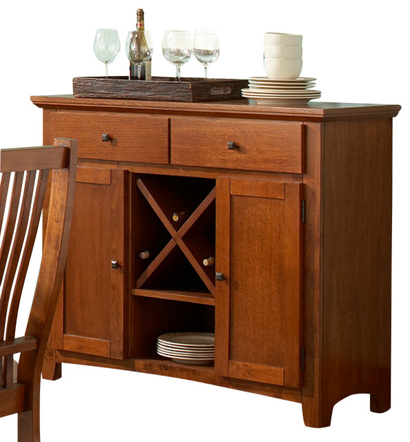 Steve Silver Tulsa Server With Wine Storage In Oak Traditional Buffets And Sideboards By