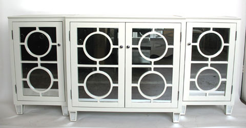 Mirrored Circle Console Table White Contemporary