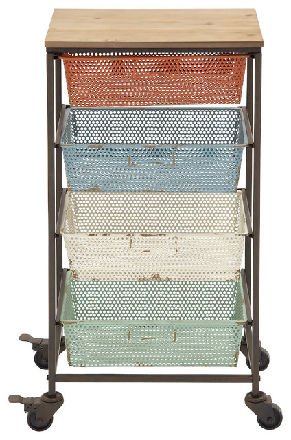 Colorful Metal and Wood Storage Cart - Traditional - Office Carts And Stands - by Wildorchid