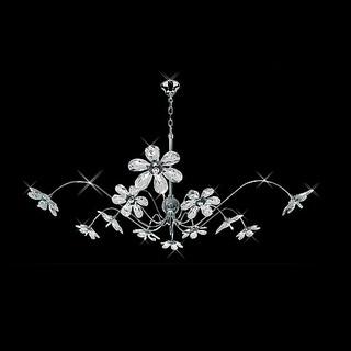 Tropical Style Swarovski Crystal Petal Flowers Chandelier