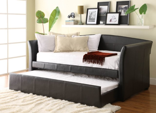 Homelegance 4956pu meyer dark brown finish bi cast daybed for Modern day furniture