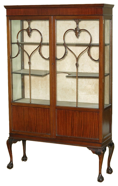 Consigned, 1920 English Mahogany Chippendale Curio Display Cabinet - Traditional - China ...