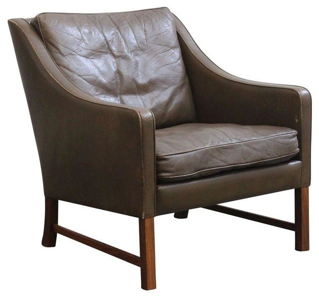 Pre-owned Danish Tall Back Leather Lounge Chair midcentury-armchairs ...