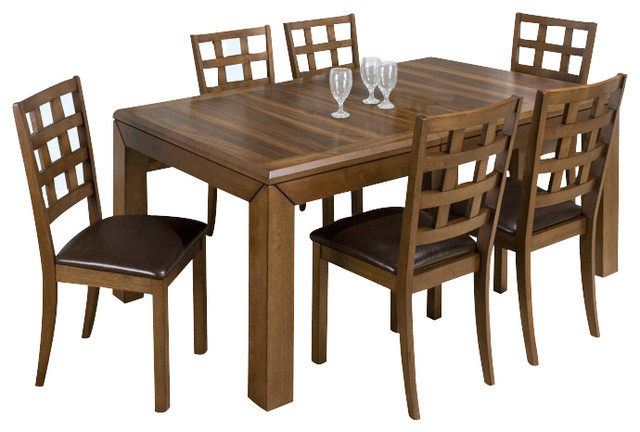 walnut 8 piece rectangular dining room set traditional dining sets
