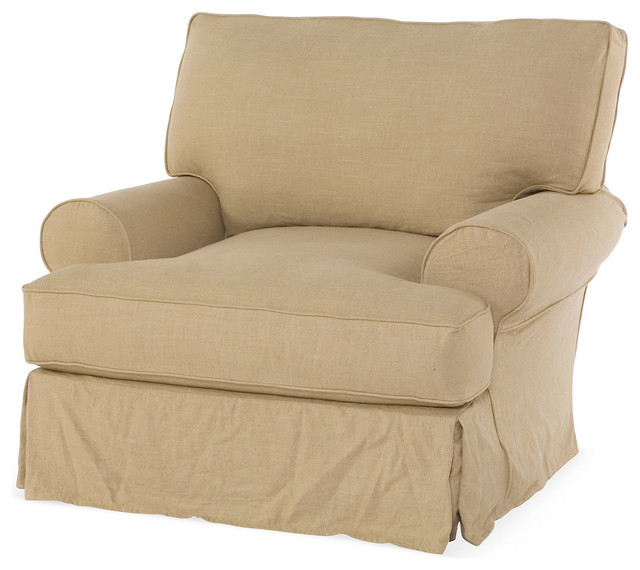 Comfy Accent Chair With Blanket: Comfy Slipcovered Club Chair, Flax