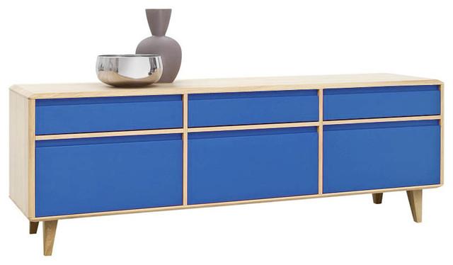 sideboard low lovell blau eiche massiv. Black Bedroom Furniture Sets. Home Design Ideas