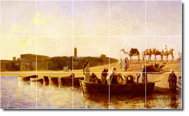 Edwin weeks waterfront painting ceramic tile mural 153 for Crossing the shallows tile mural