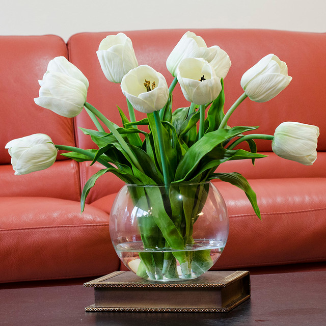Real Touch White Tulip Faux Arrangements Centerpieces For Home Decor Contemporary Artificial Flower