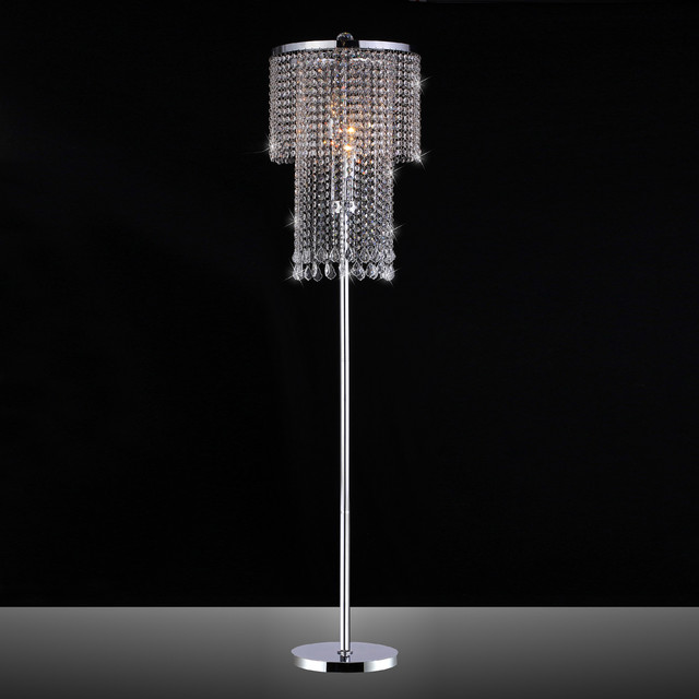 Modern Floor Lamps Overstock : Chrome and crystal floor lamp contemporary lamps by overstock