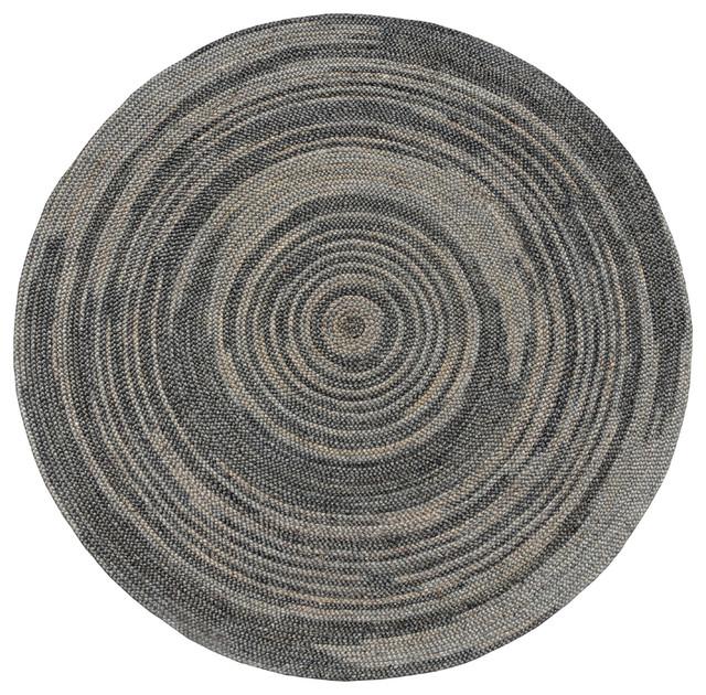 Hand-woven Grey Abrush Braided Jute Rug (8' X 8' Round