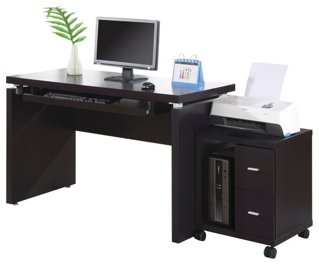 Monarch Specialties 7003 2-Piece Office Suites in Cappuccino - Traditional - Desks And Hutches ...